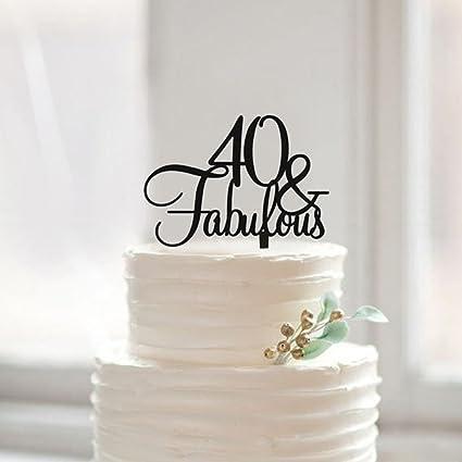 Amazon.com: a-parts 40 y fabulosa torta de cumpleaños Topper ...