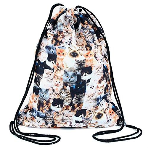 Rucksack 3D Drawstring Gym Bags Cat Bag Shoulder Backpack Print Hello Ababalaya qIAwSS