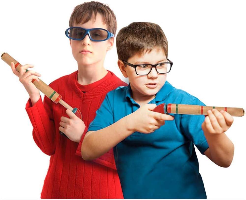 XIANGBAO 2PCS Legno Sughero Toy Guns Legno Popper Pistole con Pump Action Maniglia Giochi allaperto Giochi per Bambini Giocattoli per i Bambini