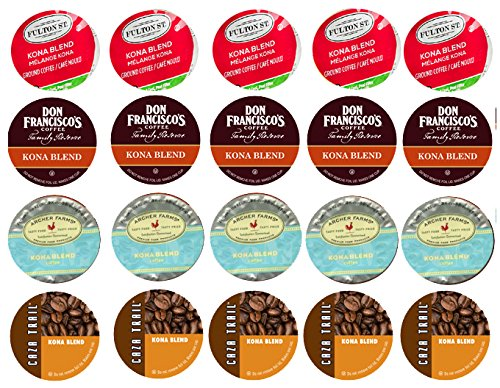 20-count Single Serve Brewer Cups KONA and Hawaiian Tropical Coffee Variety Pack Featuring Kona Blends by Don Francisco and Caza and Archer Farms and Jetsetter Aloha Cups