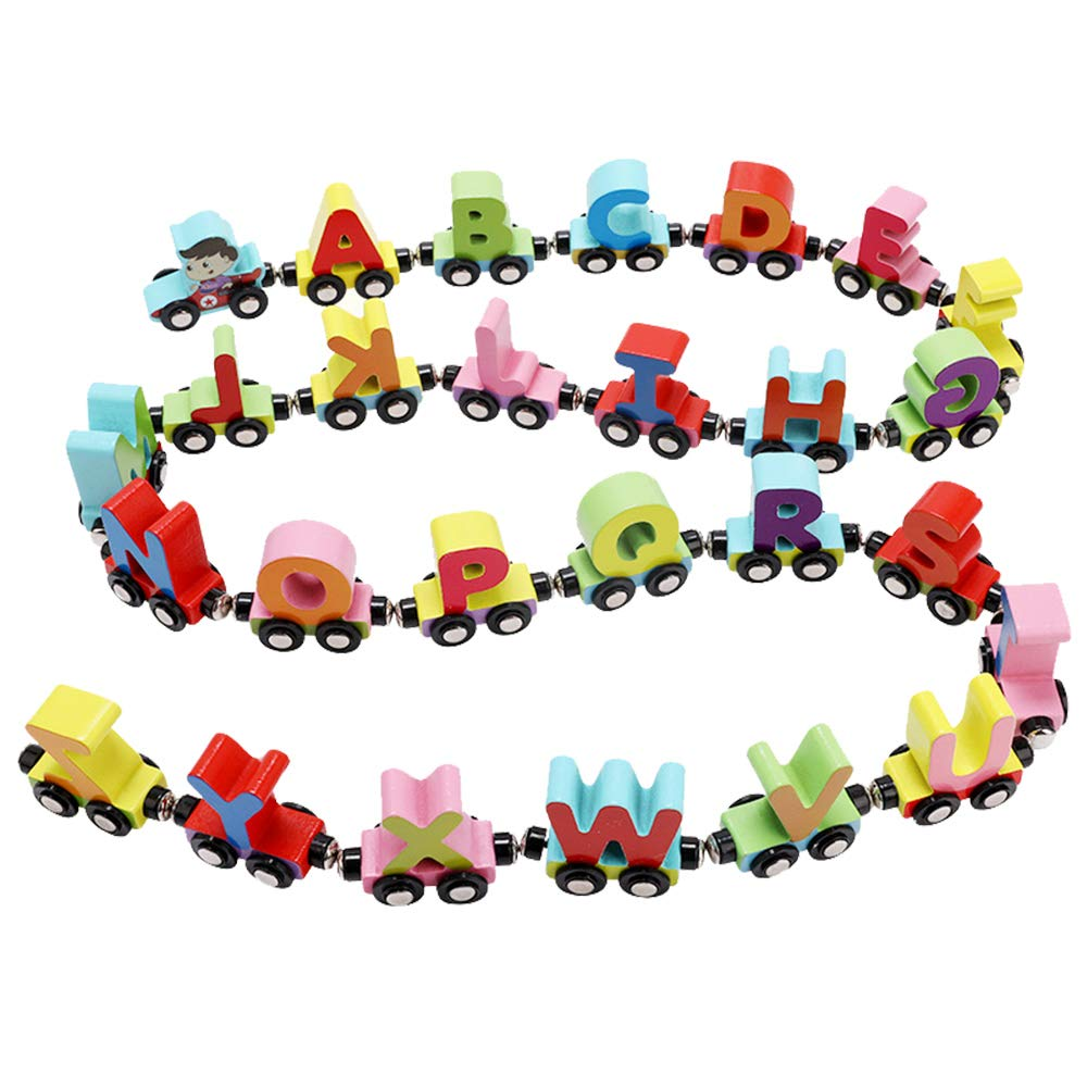 Wooden Train Set 27 PCS - Magnetic Train Cars Alphabets Set Includes 1 Engine - Toy Train Sets For Kids Toddler Boys And Girls - Compatible With Thomas Train Set Tracks And Major Brands - Wooden Box
