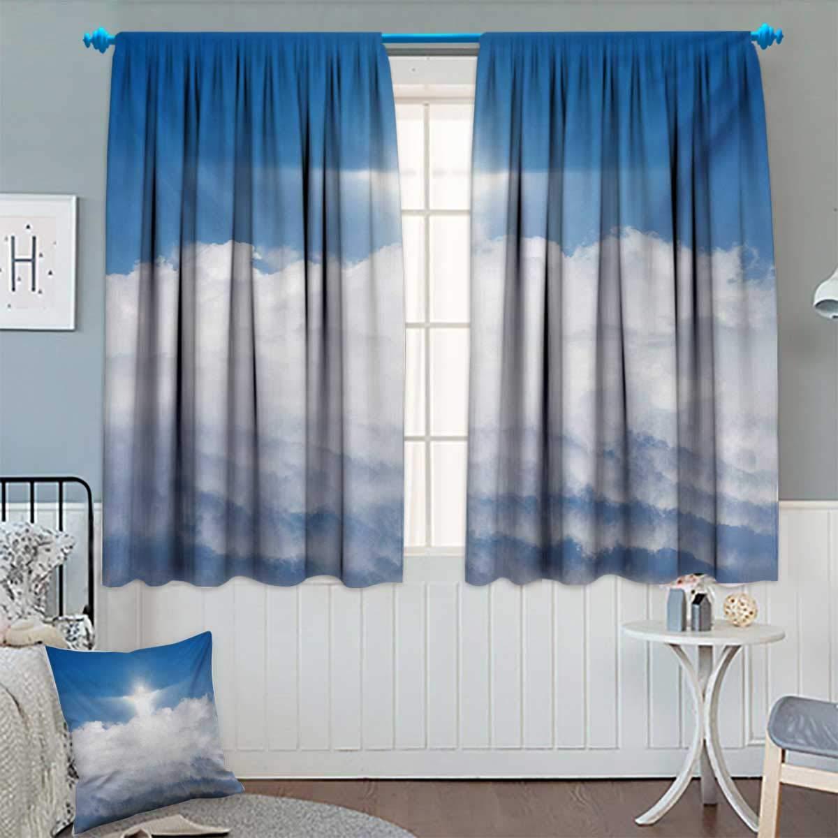 Amazoncom Blue And Whiteblackout Curtainvivid White Silhouette