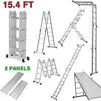 Finether-4.7M Escalera Plegable (15.4 FT, Multi-propósito Extensible, Buena