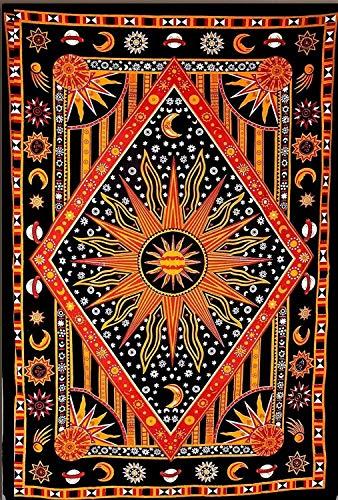 ANJANIYA Burning Sun Tapestry, Celestial Sun Moon Planet Bohemian Medium Tapestry Wall Hanging Boho Tapestry Hippie Hippy Tapestry Beach Coverlet (Orange, 54X60)