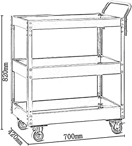 QIN.J.FANG- Storage Trolleys 3-Tier Workshop Tool Trolley,high Temperature Baking Process Assembled Tool Trolley Cart,Bearing 150KG,Yellow
