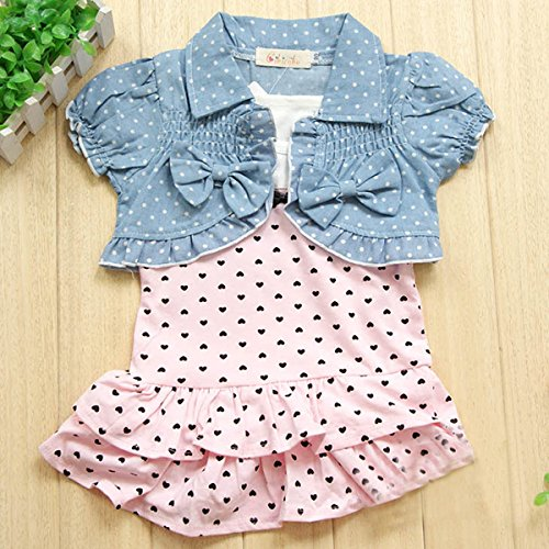 Urparcel Baby Girls Sleeveless Tops Plaid Shorts Scarf Bowknot Outfits Sets 1-3y (2-3 Years, Blue)
