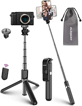Small Camera ELEGIANT Lightweight Aluminum All in One Extendable Selfie Stick Bluetooth with Remote Compatible with iPhone 11//11PRO//XS Max//XS//XR//8P//7P Selfie Stick Tripod Gopro Galaxy S20//S10//S9S8