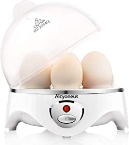 Alcyoneus Egg Cooker, Egg Boiler Electric, Hard Boiled Egg Maker with Auto Shut Off, Noise-Free & 7-Capacity, Suitable for Poached Egg, Scrambled Eggs, Omelets - White (5 BPA-free/ETL Listed/FDA Compliant)