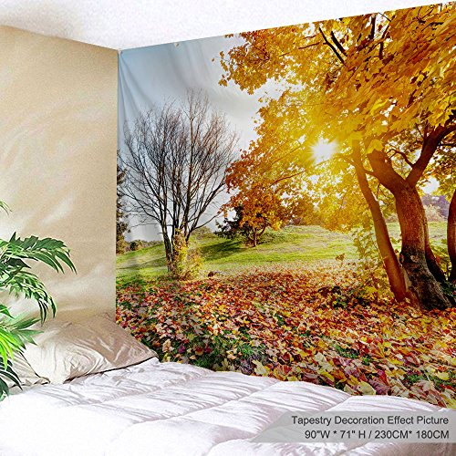 PROCIDA Home Tapestry Wall Hanging Nature Art Polyester Fabric Autumn Fall Theme, Wall Decor for Dorm Room, Bedroom, Living Room, Nail Included - 90