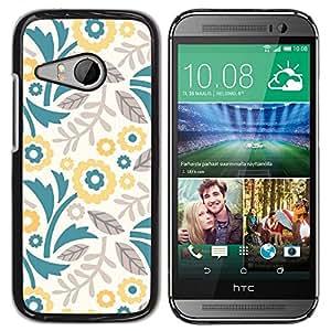 For HTC ONE MINI 2 / M8 MINI - Yellow Vector Flower Wallpaper /Modelo de la piel protectora de la cubierta del caso/ - Super Marley Shop -