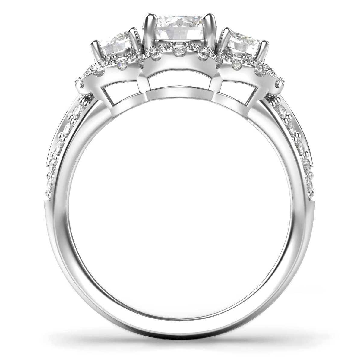 Sterling Silver 925 3 Stone CZ Cubic Zirconia Halo Engagement Ring