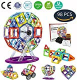 Jasonwell 98 PCS Creative Magnetic Building Blocks for Boys Girls Magnetic Tiles Building Set STEM Preschool Educational Construction Kit Magnet Stacking Toys Christmas Gift for Kids Toddlers Children