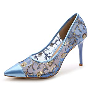 ADXIBEI Women's High Heels Party Stiletto Heel Lace Pump Shoes Blue 40