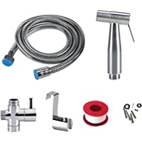 Stainless Steel Handheld Bidet for Toilets Bidet Shower Set Hand Held Cloth Diaper Spray Bathroom Cleaning Kit Attachment with Water Shut-Off,with Hose,T-Valve Tank Wall Mount & Plumber's Tape