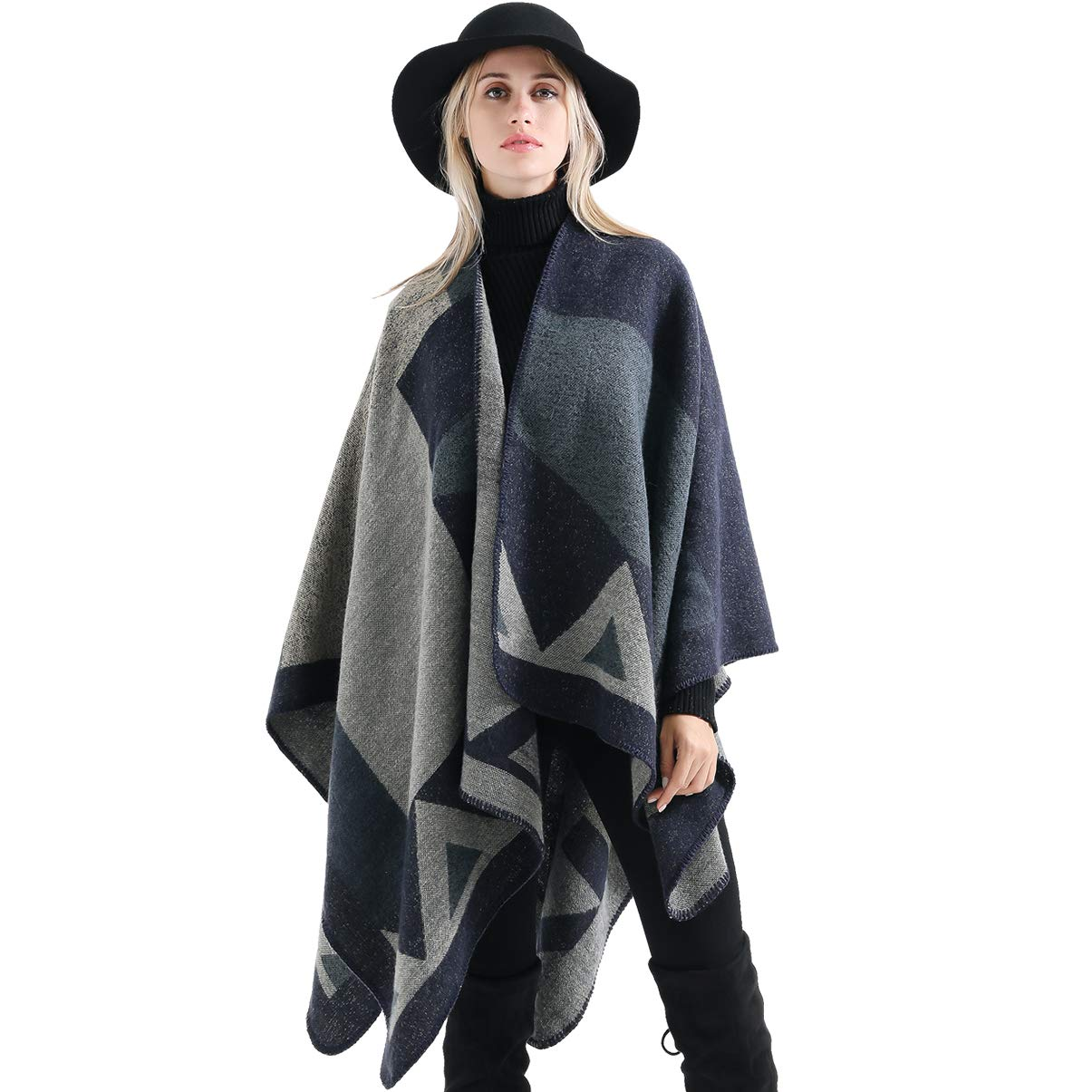 Women Winter Shawl Wrap Reversible Oversized Blanket Poncho Cape Cardigan Knitted Coat