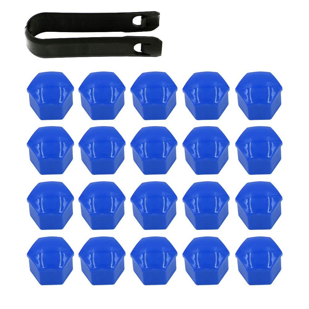 ARTGEAR 20 Pezzi Tappi a Vite Ruota Set Universale 17mm, Copridadi Ruota per Auto, Tappi Dadi Ruota Cerchione, Coperture Copricerchi con Estrattore (Blu)