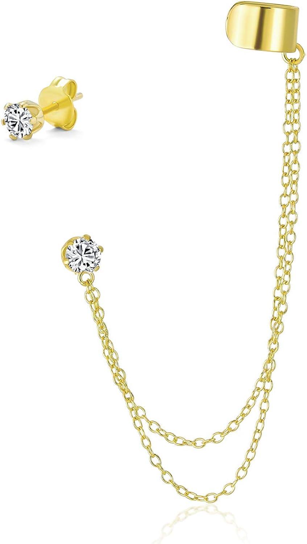 Plata 925 o 925 chapada en oro rosa de plata chapada en oro o plata Cadena doble CZ vinculado oído moderno Conjunto mang