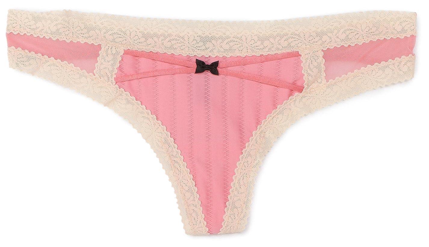 67078b29ac514c Betsey Johnson Women s Zipper Stripe Wide Side Thong Panty at Amazon Women s  Clothing store  Thong Underwear