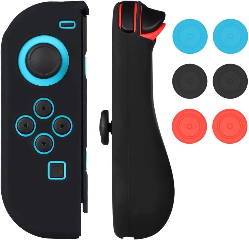 Nintendo Switch Joy-Con Gel Guards Case Cover with Thumb Grips Caps Mothca Skins Protective Blue and Red Sleeve Shell Anti-Slip Humanization Design Lightweight Comfort Game Feeling Black: Amazon.es: Videojuegos