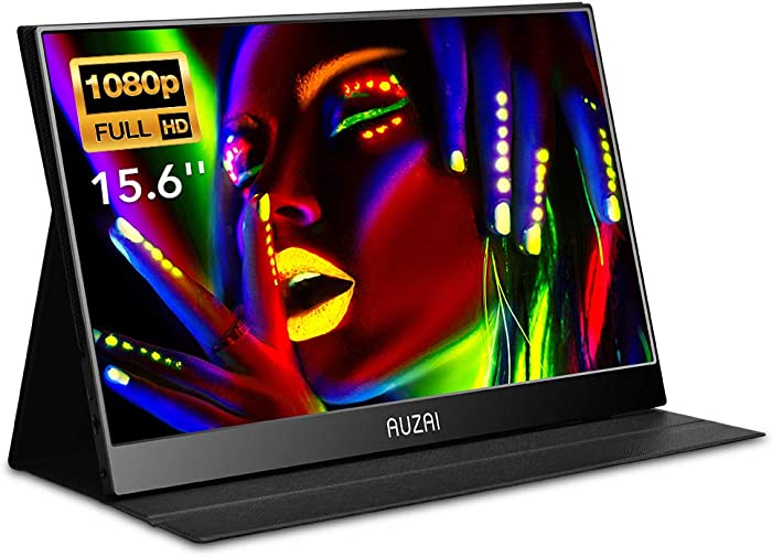 Portable Monitor - 15.6-Inch USB-C Portable Display, 1080P Full HD IPS Panel & Type-C HDMI, Eye Care & Stereo Speakers for Laptop Phone PS4 Xbox, Ultra Slim & Light, Case & Screen Protector Included