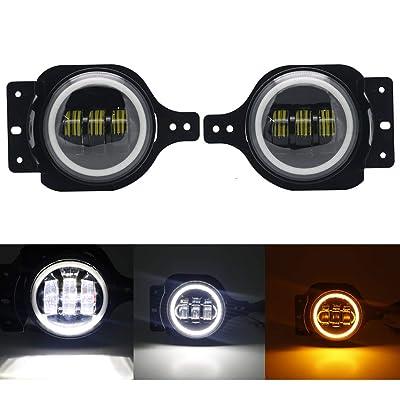"SOYAVISION Newest 4"" Round LED Fog Light Fog Lamps Halo DRL for Jeep Wrangler JL 2020 2020 Upgraded White Daytime Running Light & Amber Turn Signal Light: Automotive"
