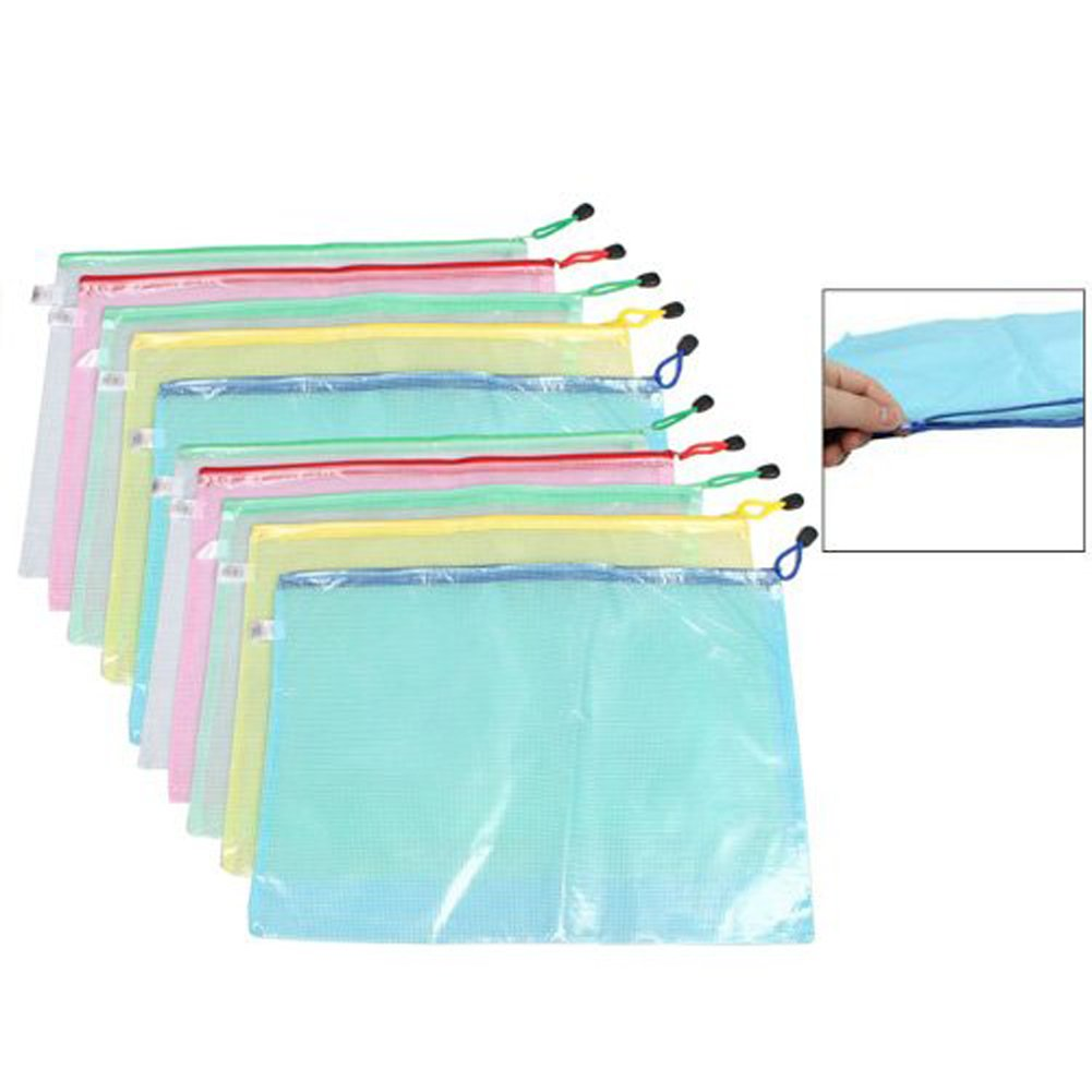 5 Pieces Waterproof Mesh Style Zipper Document Bags File Bags Stationery Storage Folders Office Document Cash Coin Organizer(A3) by luzen (Image #2)