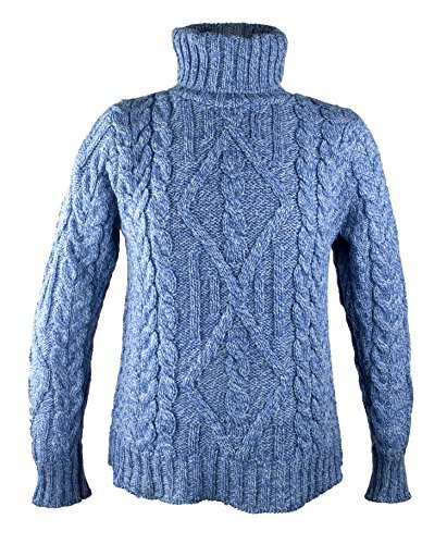 100% Irish Merino Wool Turtle Neck Aran Sweater by West End Knitwear, Wedgewood Blue, Large (Merino Turtleneck)