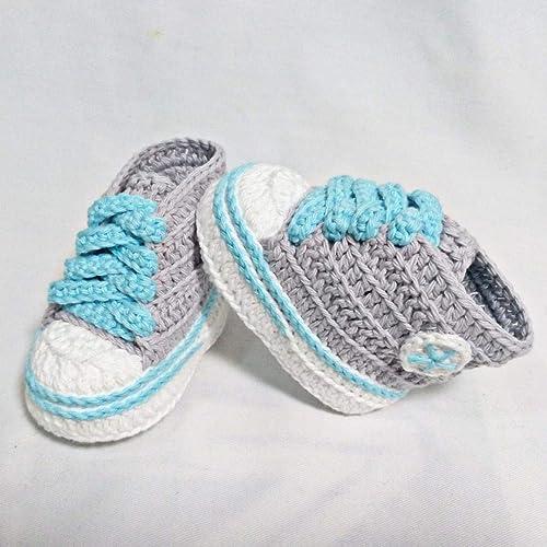 Patucos para Bebé, tipo Converse, 3-6 meses, Gris y Agua Azul. Hecho a Mano. España: Amazon.es: Handmade