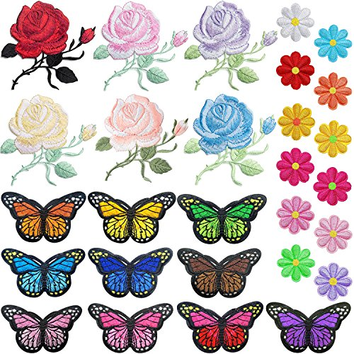PGMJ 40pcs Embroidery Applique Patches Rose Flowers Butterfly Sunflowers Iron On Patches For Jackets, Jeans, Bags, Clothing, Arts Crafts DIY Decoration from PGMJ