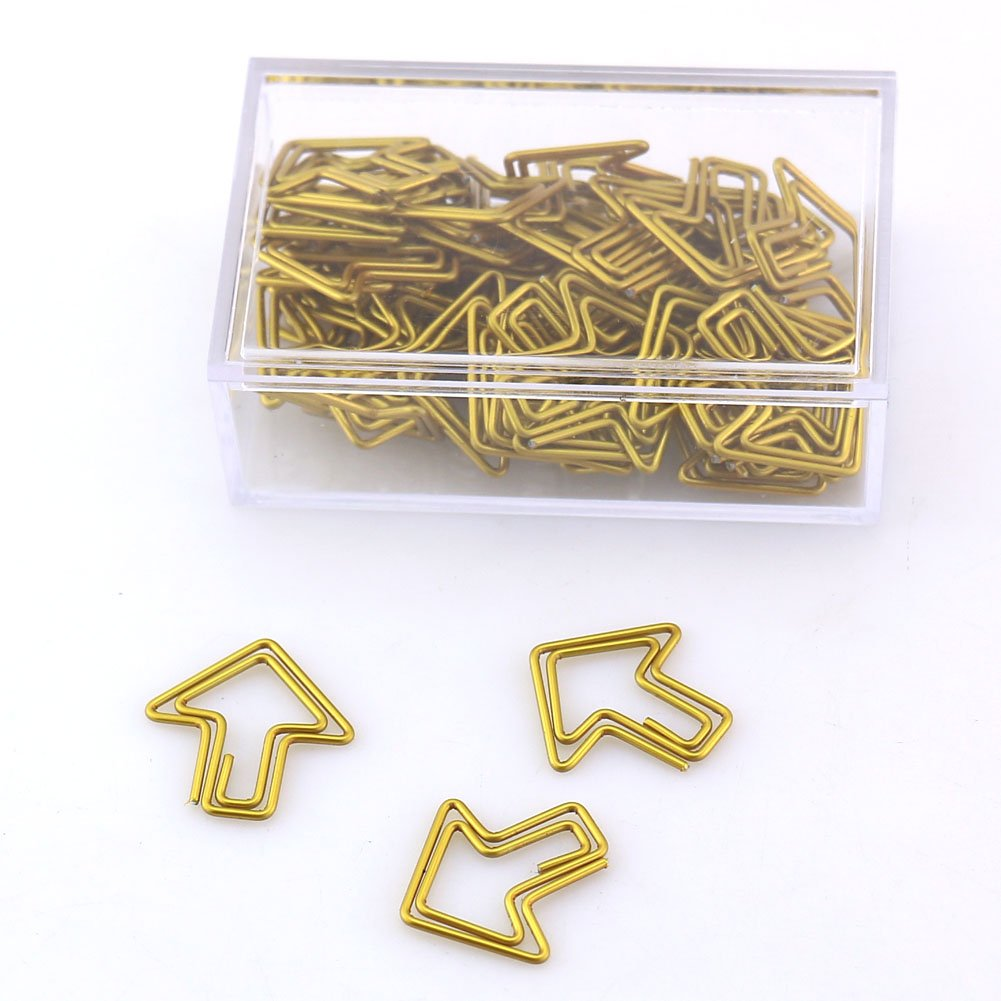 OUTU 50pcs/box Metal Material Bow Shape Paper Clip Gold Color Kawaii Bookmark Office School Stationery Marking Clips H0037 (arrow)