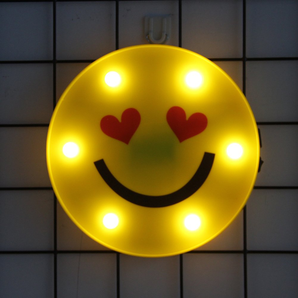 Emoji Night Lights Marquee Sign Funny LED Table Lamps for Children Kids Bedroom Wall Lamp Home Decor Battery Operated & USB Charging (Love)