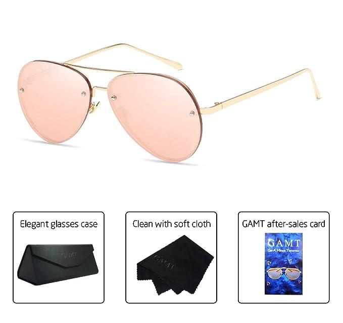 a674ef2b0a7 GAMT Aviator Sunglasses for Women Metal Frame Eyeglasses Gold-Barbie Pink