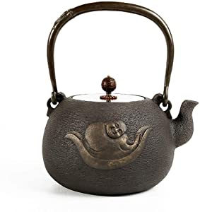 Cast Iron Tea Kettle Cast Iron Teapot Japanese Style Enamel Interior, Stovetop Tea Kettles With Interesting Pattern Teapots (Color : Black2)