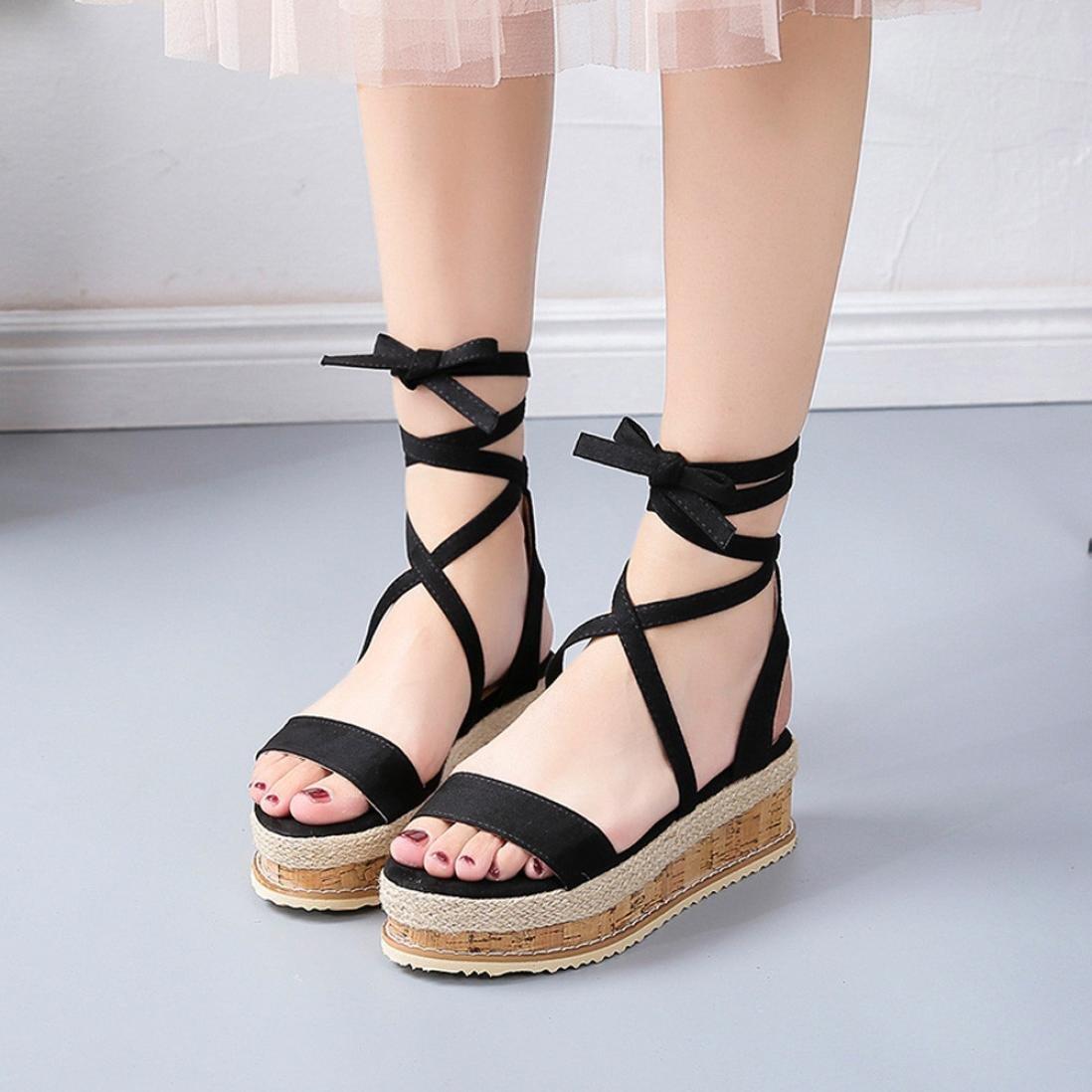 665b7ebc462e Amazon.com  Baigoods Ladies Women Roman Shoes Platform Woven Thick-Bottom  Waterproof Wedge Cross-tied Sandals  Sports   Outdoors