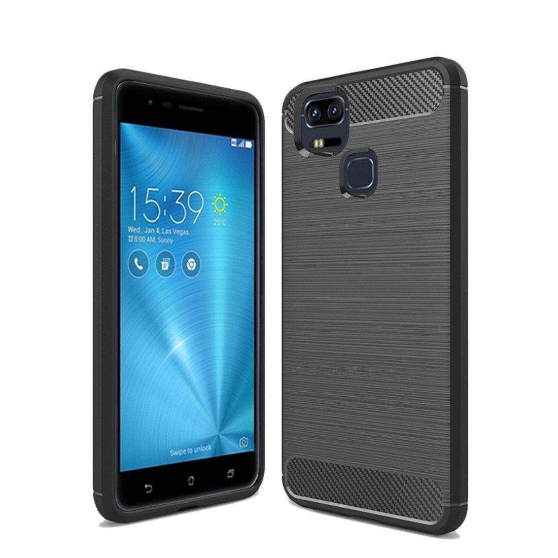 new concept b8ce2 5d5bb ASUS zenfone 3 ZOOM ZE553KL Case,Mustaner Shock-Absorption Carbon Fiber  Flexible TPU Rubber Soft Silicone Full-body Protective Cover for 5.5