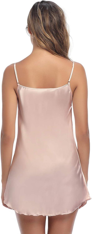 Aibrou Women's Satin Nightgown Sexy Spaghetti Strap Lingerie Chemises Mini Slip Short Nightwear: Clothing