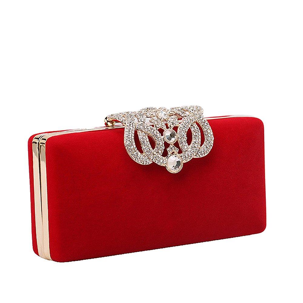 Crystal Diamante Clutch Bag, Womens Fashion Designer Evening Bag Ladies Bridal Wedding Party Purse Handbag (Red)