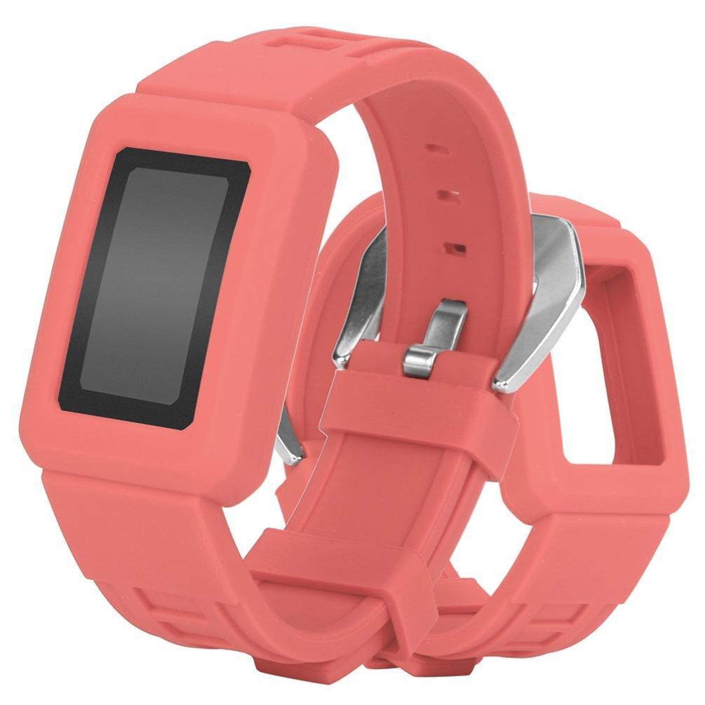 For Fitbit Charge 2、Binmer ( TM )シリコン保護ケース付きバックル腕時計バンドストラップベルト 26cm Binmer(TM) レッド レッド B076HK2QQX
