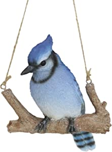 Ebros Patio Home Garden Hanging Blue Jay Passerine Bird Perching on Branch Lifelike Figurine Nature Resin Hand Painted Decorative Sculpture Window Treatment Outdoor Decor Accent