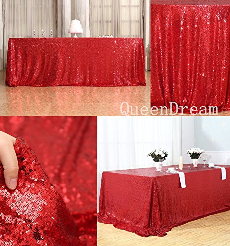 QueenDream Perfectly Red Sequin Tablecloth 90
