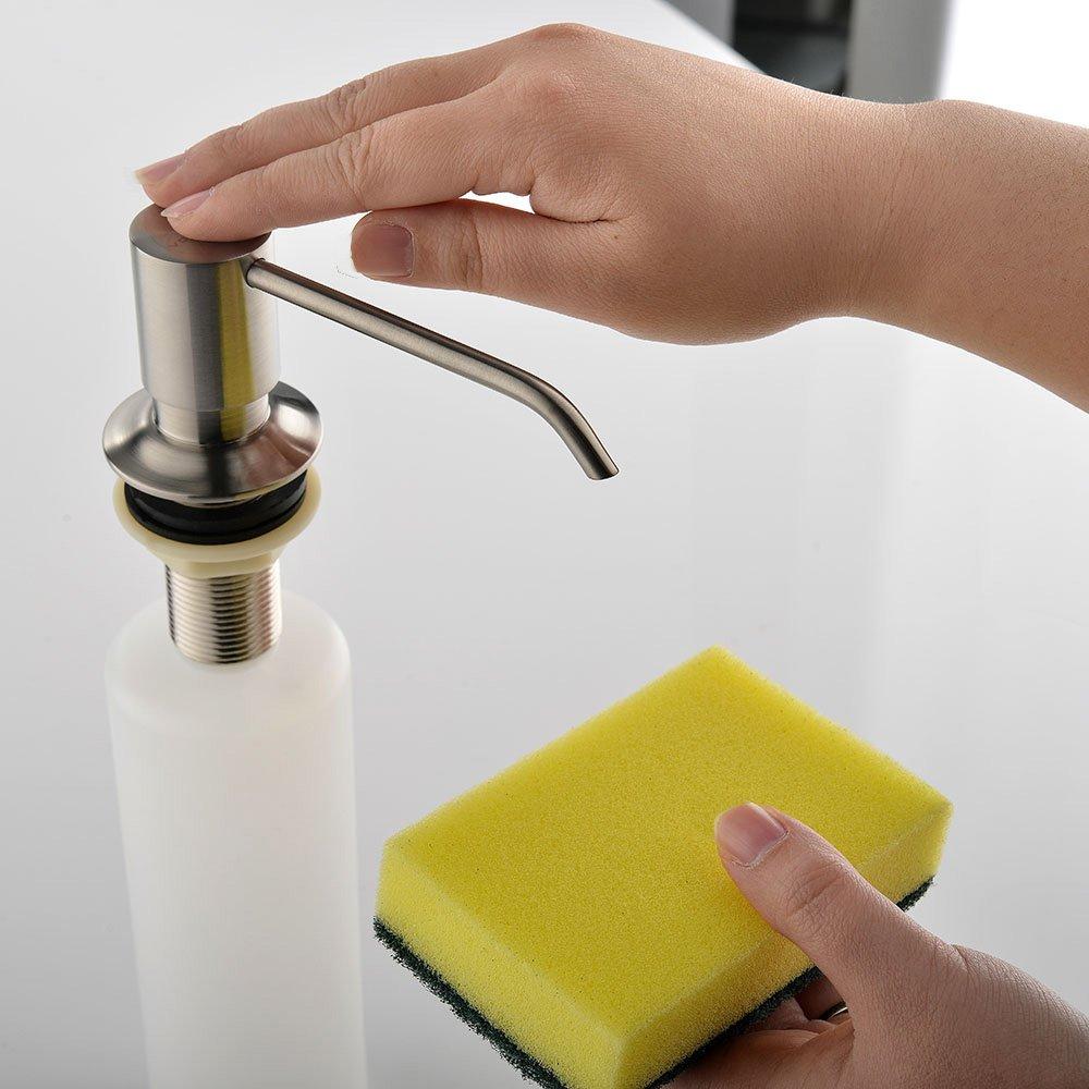 VESLA HOME Stainless Steel Built in Pump Kitchen Sink Countertop Kitchen Sink Dish Soap Dispenser, Brushed Nickel Modern Soap Dispenser by VESLA HOME (Image #3)