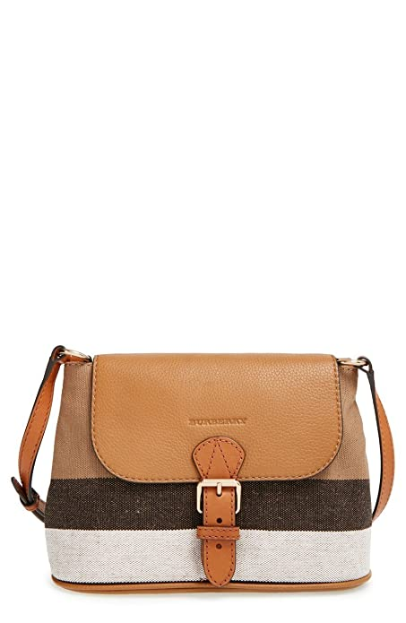 eec9c9330029 Burberry Brit Small Gowan Canvas House Check Leather Crossbody Bag Saddle  Brown