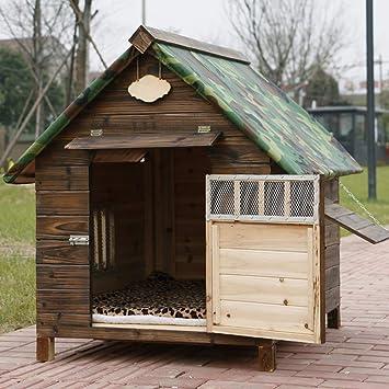 Mascota nido impermeable impermeable exterior de madera maciza carbón de madera caseta de perro perrera gato ...