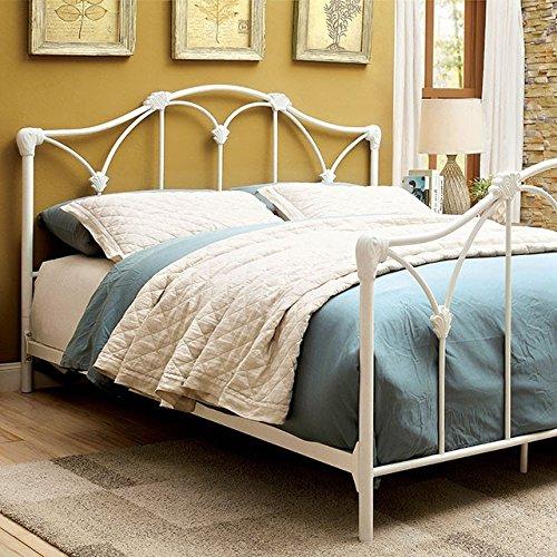 Benzara BM131749 Contemporary Camelback Queen Metal Bed, White