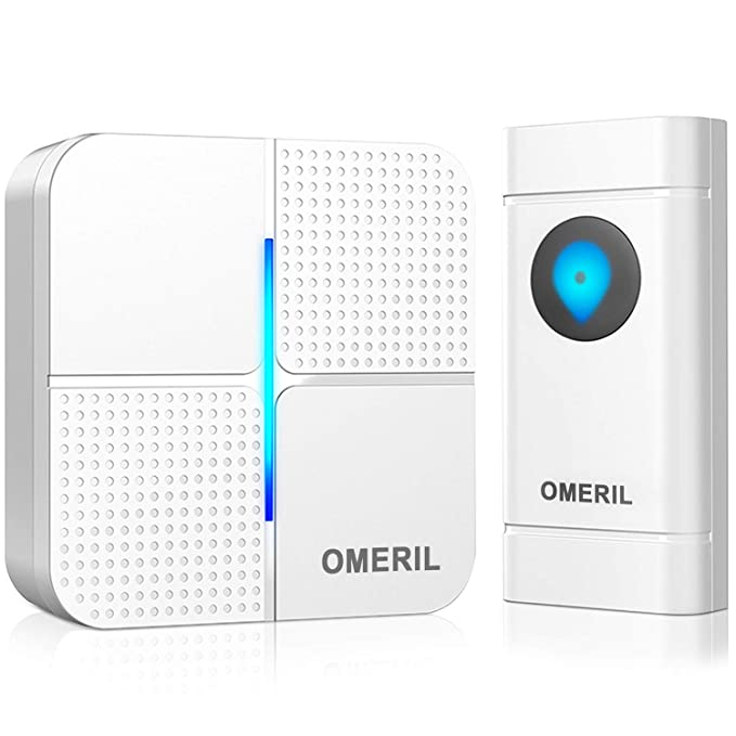 Wireless Doorbell, OMERIL IP55 Waterproof Door Bell Chime Kit with 1000ft  Range, 52 Chimes, 4-Level Volume & Blue Light, Plug in Doorbells Wireless