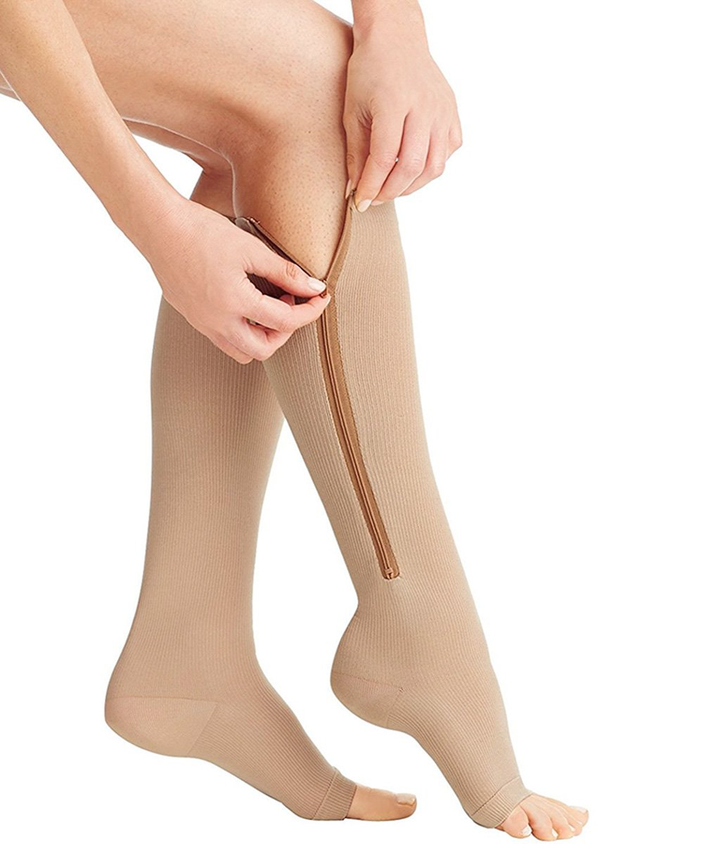 Zipper up knee length Compression Stockings