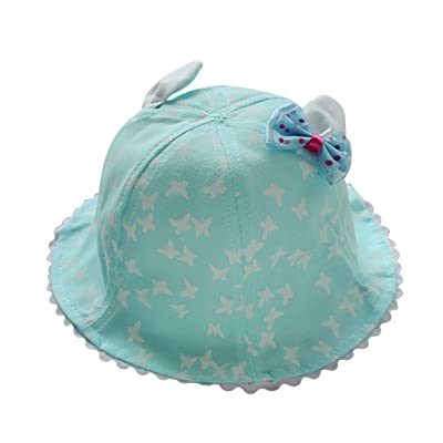 ceb0c6bdcbd ACVIP Baby Girl Butterfly Printed Bowknot Design Ear Sun Protection Bucket  Hat