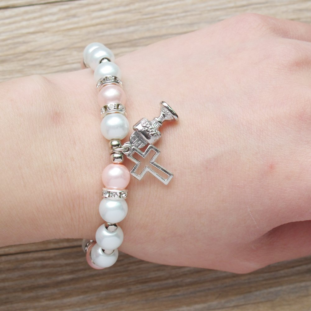Amazon.com: First Holy Communion Party Favor (12 PCS) Stretch Pearl Bracelet with Silver Metal Chalice and Cross Charms/ Recuerdos para Primera Comunion ...