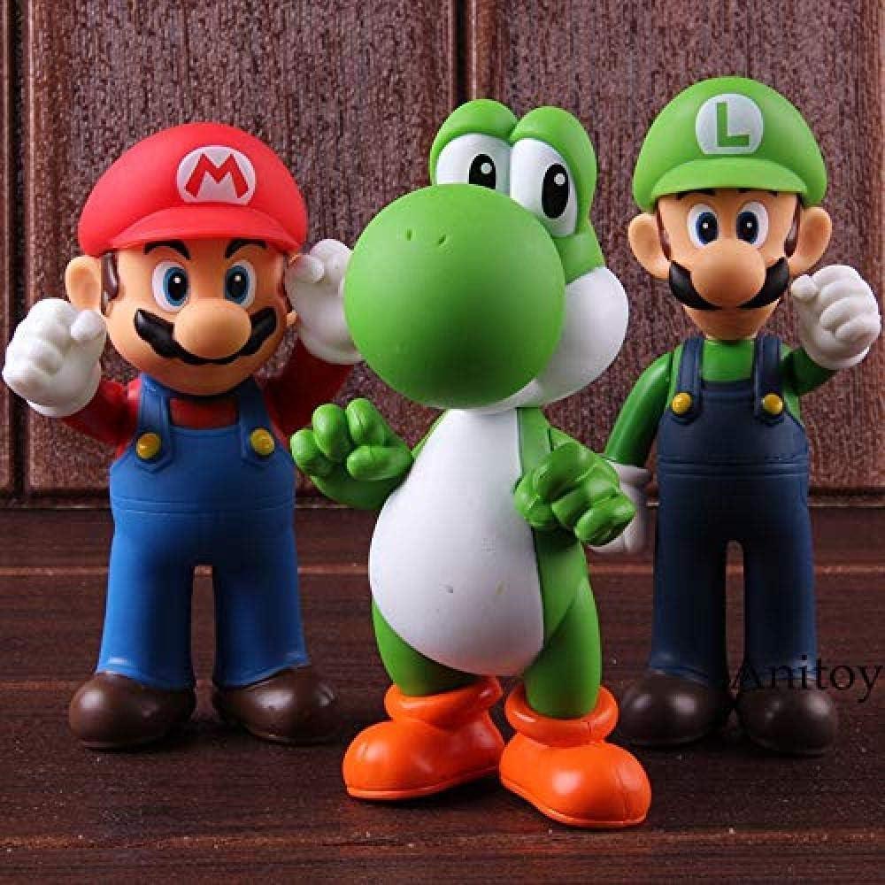HYHSM Super Mario Bros Wii Mario Toys Yoshi Luigi PVC Figura de acción Decoración de Fiesta Juguete 3 Combinaciones: Amazon.es: Hogar