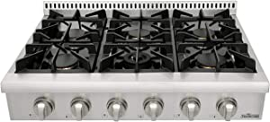 Gas Rangetop/Cook Top with 6 Sealed Burners, Gas Stove Top Cooker Cooktops For Kitchen, Flat Cast-iron Cooking Grates, Stainless Steel, HRT3003U (36 inch)